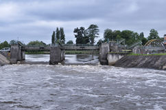 Vienne river in flood in Chatellerault, France Stock Photos
