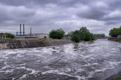 Vienne river in flood in Chatellerault, France Stock Photography