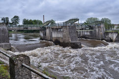 Vienne river in flood in Chatellerault, France Royalty Free Stock Photo