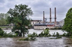 Vienne river in flood in Chatellerault, France Stock Photo