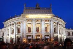 Vienne, théâtre de Burg la nuit image libre de droits