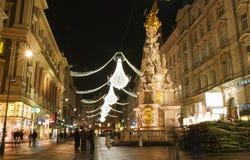 Vienne - touristes sur la rue célèbre de Graben Photos stock