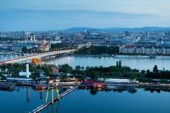 Vienne, vue aérienne la nuit Image libre de droits