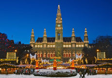 Vienna Christmas Market. Viennese Christmas market with giant Advent wreath in front of the beautiful city hall Stock Images