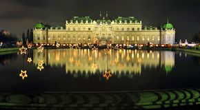 Viennese Christmas night at Belvedere palace Royalty Free Stock Image