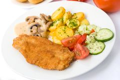 Viennese-milanese-bistecca con Fotografia Stock