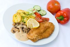 Viennese-milanese-steak with Stock Photo