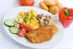Viennese-milanese-steak with Royalty Free Stock Images