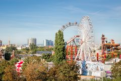 The viennese Prater with Giant Ferris Wheel Stock Photography