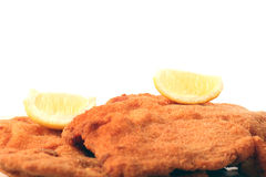 Viennese Schnitzel. On a withe background Stock Photography