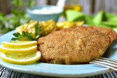 Viennese schnitzel on a blue plate. Royalty Free Stock Photography
