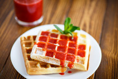 Viennese sweet waffles with strawberry jam Royalty Free Stock Image