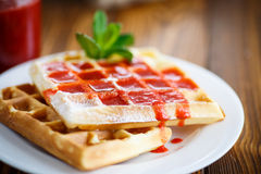 Viennese sweet waffles with strawberry jam Stock Photography