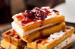 Viennese wafers with berry jam. Delicious and healthy breakfast Stock Images