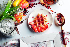 Viennese wafers with strawberry syrup Royalty Free Stock Image