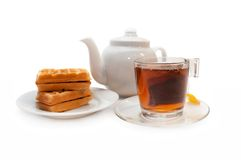 The Viennese wafers and tea Stock Image