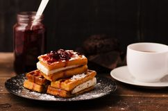 Viennese waffle in cherry syrup Royalty Free Stock Images