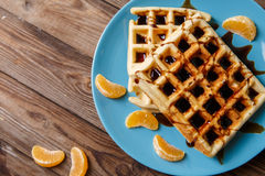 Viennese waffles on blue plate Stock Photo