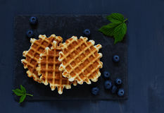 Viennese waffles with blueberries. Royalty Free Stock Photos