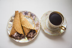 Viennese waffles with coffee Stock Image