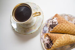 Viennese waffles with coffee Stock Images