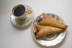 Viennese waffles with coffee Royalty Free Stock Image