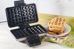 Viennese waffles waffle iron pile of orange Belgian Prague Stock Images