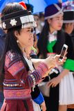 Vientiane Capital, Laos - November 2017: Hmong Girl wearing the Hmong traditional clothes during the Hmong New Year celebration in Royalty Free Stock Photos