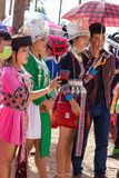Vientiane Capital, Laos - November 2017: Hmong Girl wearing the Hmong traditional clothes during the Hmong New Year celebration in Stock Images