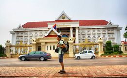 Vientiane. City Center Hotels and Map. All areas map in  Laos, location of Shopping Center, Railway, Hospital and more Stock Image