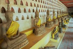 Old Buddha statues in Wat Si Saket temple in Vientiane, Laos. royalty free stock image