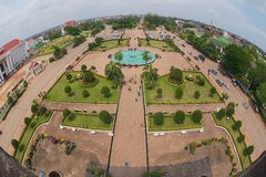 View to the Patuxay Park from the Victory monument in Vientiane, Laos. royalty free stock image