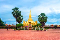 Pha That Luang temple in Vientiane, Laos Royalty Free Stock Photo