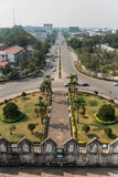 Vientiane Road View from the Top of Patuxai at Vientiane, Laos royalty free stock image