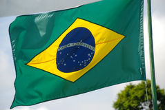 Viento del Brasil de las banderas en el top Imagen de archivo