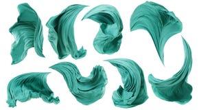 Viento que fluye del paño de la tela, movimiento del vuelo de la onda de la materia textil, blanco Imagenes de archivo