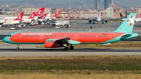 Viento Rose Aviation, Airbus A321-200 de UR-WRJ Fotografía de archivo