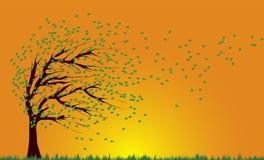 Viento y árbol ilustración del vector