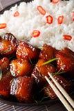 Vientre de cerdo caramelizado vietnamita con macro del arroz vertical Imagen de archivo libre de regalías