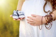 Vientre de la mujer embarazada que lleva a cabo botines del bebé Foto de archivo
