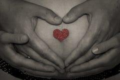 Vientre del bebé con las manos Imagen de archivo libre de regalías