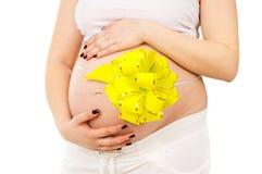 Vientre embarazada de la muchacha Imagen de archivo