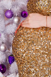 Vientre embarazada en la Navidad Imagen de archivo