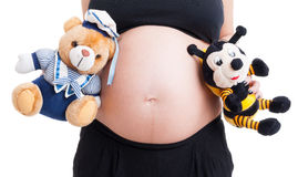 Vientre grande de la mujer embarazada y juguetes lindos de la felpa Fotos de archivo