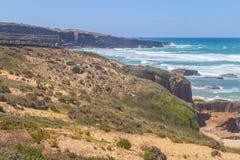 Viepont and dune vegetation in Malhao beach,  Vila Nova de Milfo. Ntes, Alentejo, Portugal Royalty Free Stock Photo