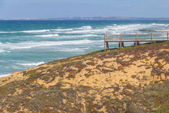 Viepont and dune vegetation in Queimado beach,  Vila Nova de Mil Royalty Free Stock Photos