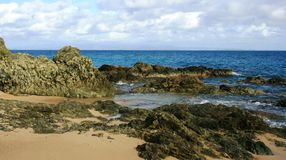 Vieques Island Beach. Sea, sand and rocks, Vieques Island, Puerto Rico stock photo
