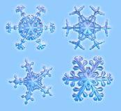 Vier 3D Sneeuwvlokken - omvat het knippen weg vector illustratie