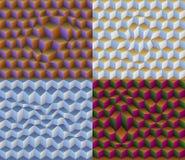Vier 3D verzerrte Würfel-nahtlose Muster Lizenzfreies Stockbild
