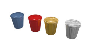 Vier Abfalleimer Stockbild